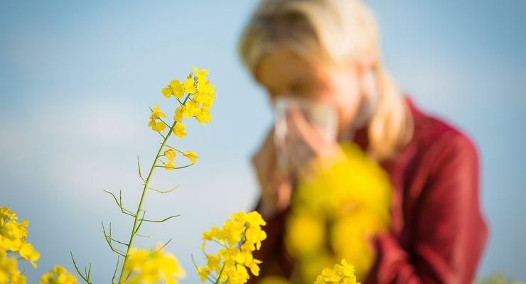 Frau hat Heuschnupfen auf einer blühenden Wiese mg_heuschnupfen.jpg