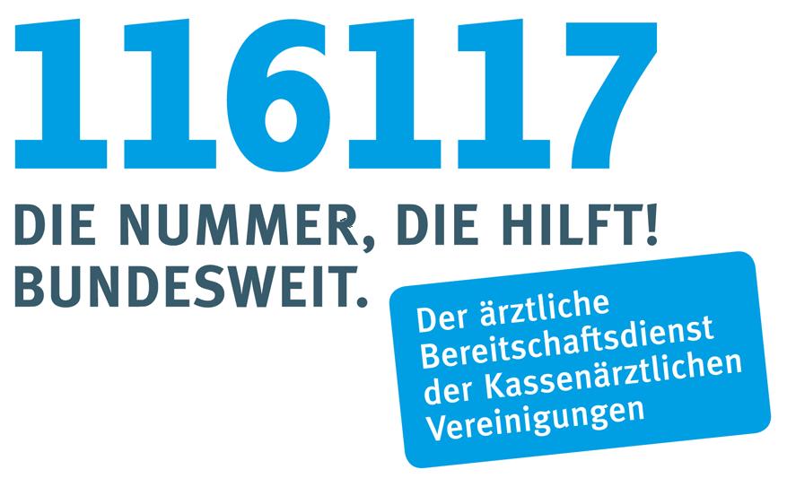 Logo und Telefonnummer des Arzt-Bereitschaftsdienstes